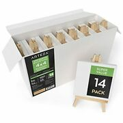 14 Arteza Mini Canvases With Easels 4 X 4 Inches 100 Cotton Gesso Primed