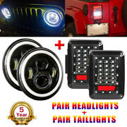 7inch 280w Led Headlight Drl + Rear Tail Lights For Jeep Wrangler Jk 2007-2017
