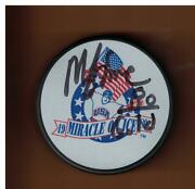 Mike Eruzione Autographed 1980 Miracle On Ice Hockey Puck Signed 80 Gold