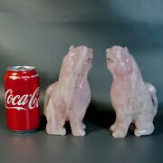 Chinese Rose Quartz Mythical Beast Carving Statues Pair Rare Antique Vintage