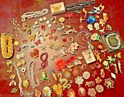 Huge Lot Estate Jewelry 107 Pieces Vintage Antique Rhinestone Brooch 5 Pounds