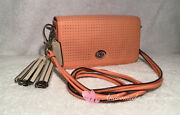 Coach Perforated Leather Penny Shoulder Purse 22387 Coral/light Sand