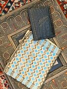 Antique Vintage Blue And Black Glass Seed Bead Purse And Sewing Needle Pouch Lot 2