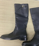 Cole Haan Black Leather Knee High Side Zip Riding Boots Women's Sz 5.5 B