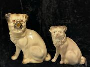 2 Antique 19th C. French Porcelain Sitting Pug Figurines 8 1/2 And 7 Handpainted