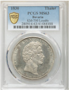 Germany States Bavaria 1830 Taler Coin Thaler Pcgs Ms 63 Unc Loyalty, Prooflike