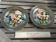 2 Rare Pottery Plates Edith Cockcroft American Artist Flowers Fruits Silver 10