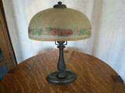 Antique Handel Boudoir Lamp Signed Rare Oval Reverse Painted Shade Arts And Crafts