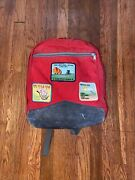 Vintage 80s Jansport Suede Leather Backpack Day Pack With Cyclist Patches Race