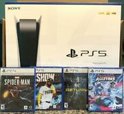 New Playstation 5 Ps5 Disc Console Bundle + 4 Games - Returnal, Spider-man, Mlb