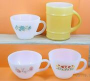 Anchor Hocking Fire King Coffee Cups Lot Of 4 Mixed Patterns 5