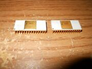 Rare Pair Fairchild Large White Ceramic And Gold Ic Chip 33512dc