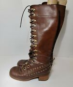 Vintage 60s 70s Brown Leather Lace Up Tall Boots Hippie Groovy Boho Japan Wood