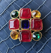 Vintage Gripoix Ruby Sapphire Poured Glass Byzantine Style Brooch