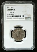1921 Standing Liberty Quarter Ngc Vf Details Cleaned