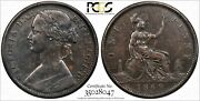 1869 Great Britain One Penny Pcgs Xf40 Key Date S-3954 1d Variety
