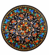 42 Inch Marble Dining Table Top Inlay Reception Table With Semi Precious Stones