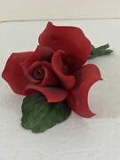 Napoleon Capodimonte Porcelain Red Rose With Leaves And Stems Made In Taly