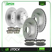 Front And Rear Ceramic Brake Pads With Rotors For 98-2002 Honda Accord 2.3l