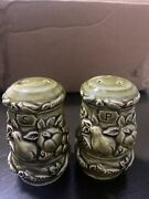 Vintage Olive Green Canister With Fruit Salt And Pepper Shakers - Made In Japan