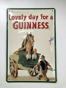 Tin Sign Lovely Day For A Guinness Horse In Cart 8x12 Beer Sign Metal Sign Irish