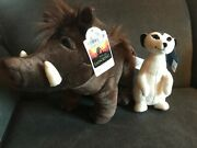 Build-a-bear Workshop The Lion King Timon And Pumbaa Plush Dolls New W/tags