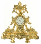 Miniature Dollhouse Fireplace Mantel French Clock 24k Gold Plated 1/12 Scale