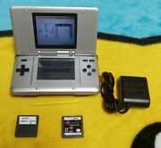 Nintendo Ds Nds Launch Edition Titanium Silver System W/ 2 Games/charger