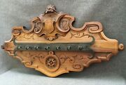 Large Antique French Napoleon Iii Style Hook Hanger Rack Early 1900's Woodwork