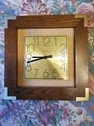 Linden Vintage Oak Wall Clock Witth Gold Face - Square
