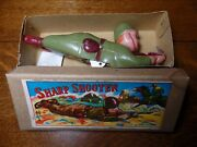 Mint 1940's Occupied Japan Sharp Shooter Celluloid Windup Toy And Original Box