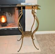 1880and039s-90and039and039s Victorian Dragon Gargoyle Gothic Iron And Marble 2 Shelf Plant Stand