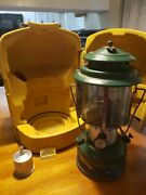Vintage Coleman Model 228f 220f Lantern With Mustard Carrying Case