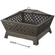 Large 34 In. Steel Deep Bowl Fire Pit Oil Rubbed Bronze Finish Mesh Lid And Poker