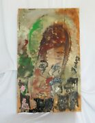 Purvis Young She's A Passionate Angel Happy In City Lg. 40 H X 24 Wood / Coa