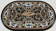 24 X 48 Inches Oval Marble Coffee Table Top With Vintage Art Patio Sofa Table