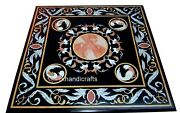 30 Inches Handmade Patio Center Table Black Coffee Table Top With Antique Work