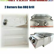 2 Burners Portable Grill Gas Bbq Barbecue Camping Steel Shield Barbeque Cooker