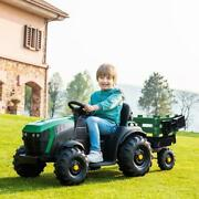12v Kids Ride On Tractor Car Electric Music 2 Speeds With Large Trailer 2 In 1