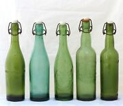 1900 Antique Set Of 5x French Beer Bottles Blowned Glass Bistro Bar Collectibles