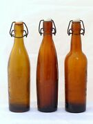 Antique Set Of 3x French Beer Bottles Blowned Glass Bistro Bar Collectibles 1900