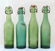 Antique Set Of 4x French Beer Bottles Blowned Glass 1900 Bistro Bar Collectibles