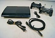 Sony Ps3 Playstation 3 Cech-4301a Super Slim Console Bundle 2 Controllers +cords