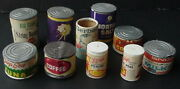 Vintage Pretend Play Food Grocery 10 Cans Lot Brands Gerber Libby's +coffee Tuna