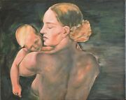 Mother Restored Vintage Oil Painting Canvas 16x20 Ussr 1932 Soviet Replica