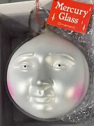 Department 56 Mercury Glass Ornament Set Of 7 Moon Face Nib With Tags.