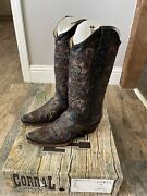 New Corral Vintage Womens Boots Size 9m Black/blue Inlay Beautiful A1171