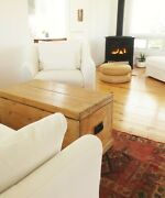 Antique Wood Chest Keyed Iron Handles Pine Trunk Bench Coffee Table Blanket Box