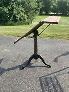 Antique Dietzgen Drafting Table Cast Iron Industrial Office Desk Wood Cranking