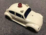 Vintage Plastic Japanese Volkswagen Toy Police Car In Working Condition
